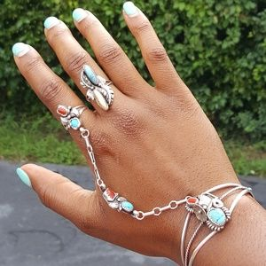 Vintage Turquoise and Mother of Pearl Ring
